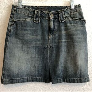 7 FOR ALL MANKIND Denim Pleat Front Mini Skirt